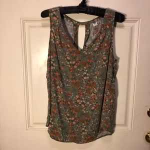 Old navy green floral swing top